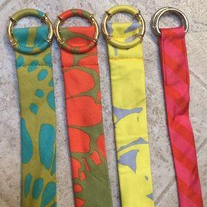 Four J Crew belts S / M no wear colorful fabric